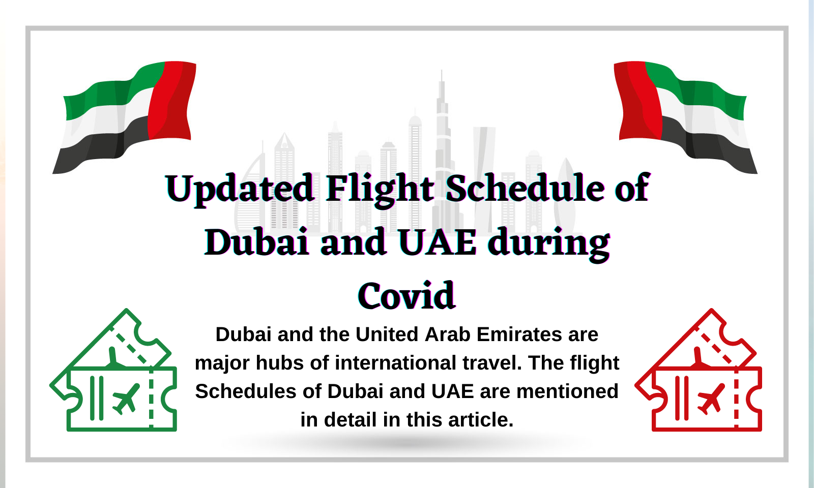 Updated Flight Schedule of Dubai and UAE during Covid